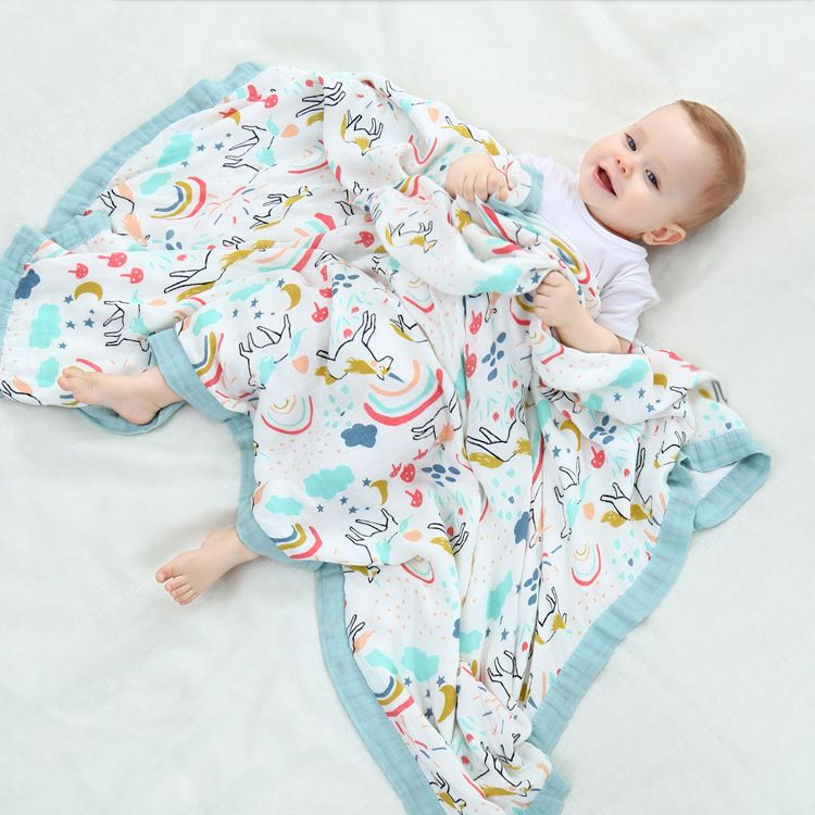 ins四层秋冬竹纤维纱布浴巾盖毯儿童空调被婴儿包巾新生儿抱被V8