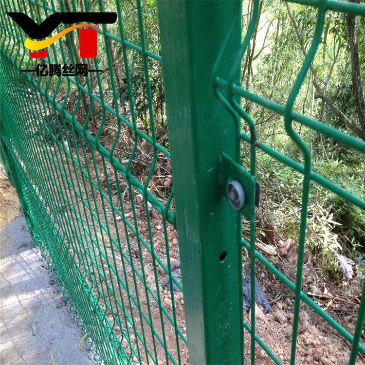 厂家直销绿色铁丝圈地双边丝护栏 双边丝钢丝护栏 折弯双边丝护栏