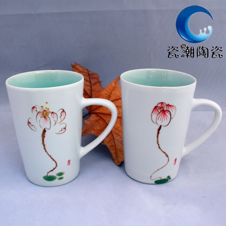 景德镇精品陶瓷手绘系列荷花马克杯陶瓷杯牛奶杯大号水杯厂家直销