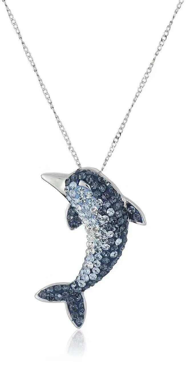 S925純銀海豚水晶項鏈鎖骨鏈藍色滿鉆創意氣質魚尾配飾飾品女