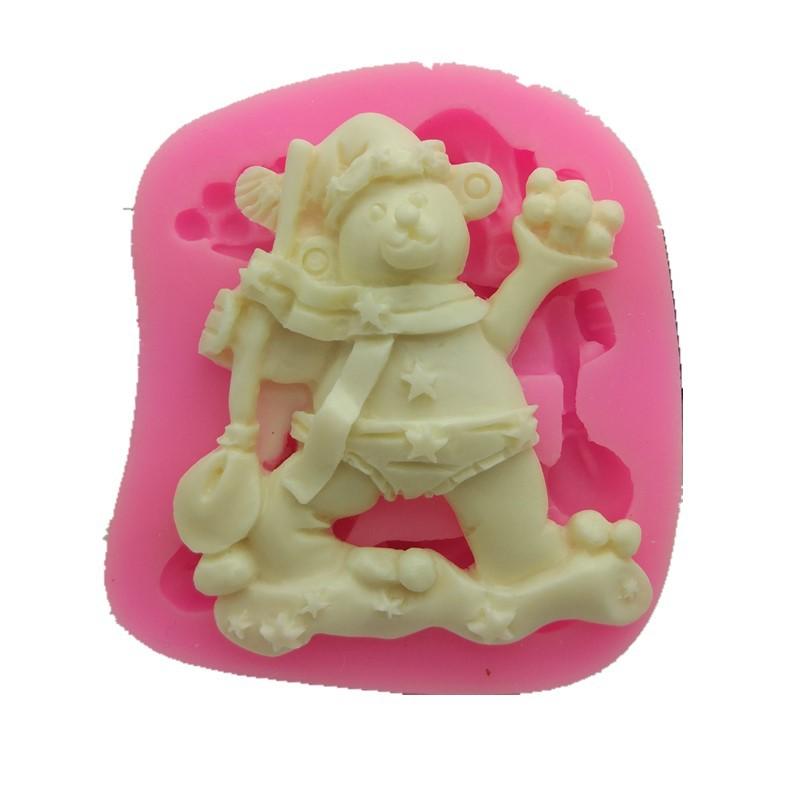 厂家直销 硅胶模具 液态圣诞小熊动物翻糖生日蛋糕模具烘焙工具
