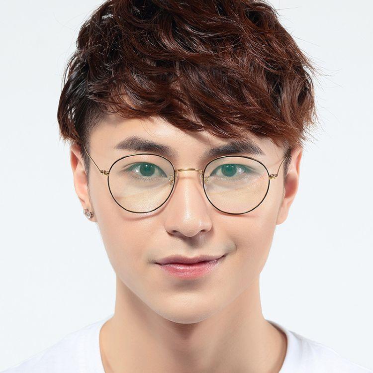 源头工厂钛架批发直销 纯钛圆框眼镜框女轻 男款潮流全框平光镜架