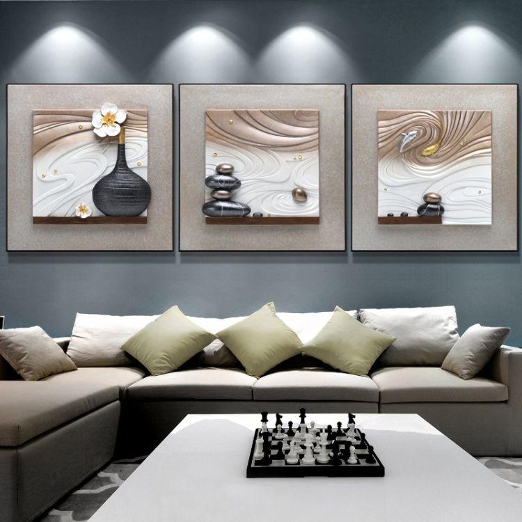 客厅装饰画沙发背景挂画墙画立体浮雕画三联壁画无框现代简约餐厅