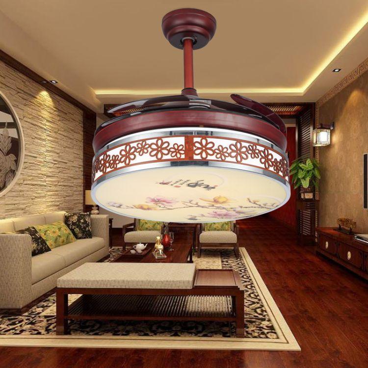 LED隐形风扇灯吊扇灯餐厅吊灯卧室吊灯遥控调光调色调风力风扇灯