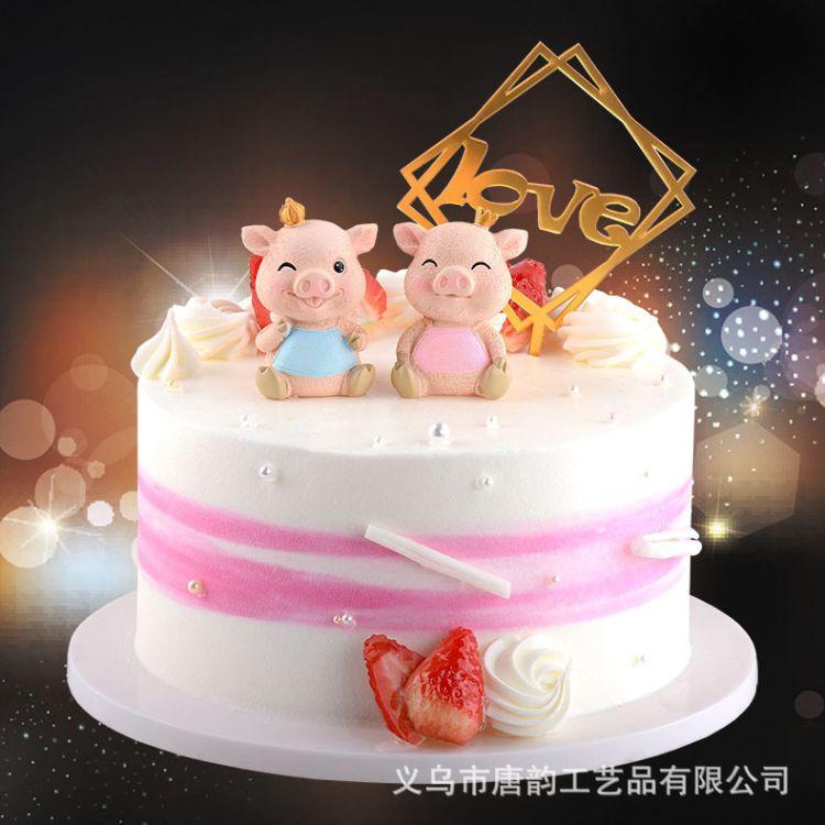 烘培生日蛋糕树脂工艺品装饰情侣戴皇冠翅膀天使小猪礼品SSM1878