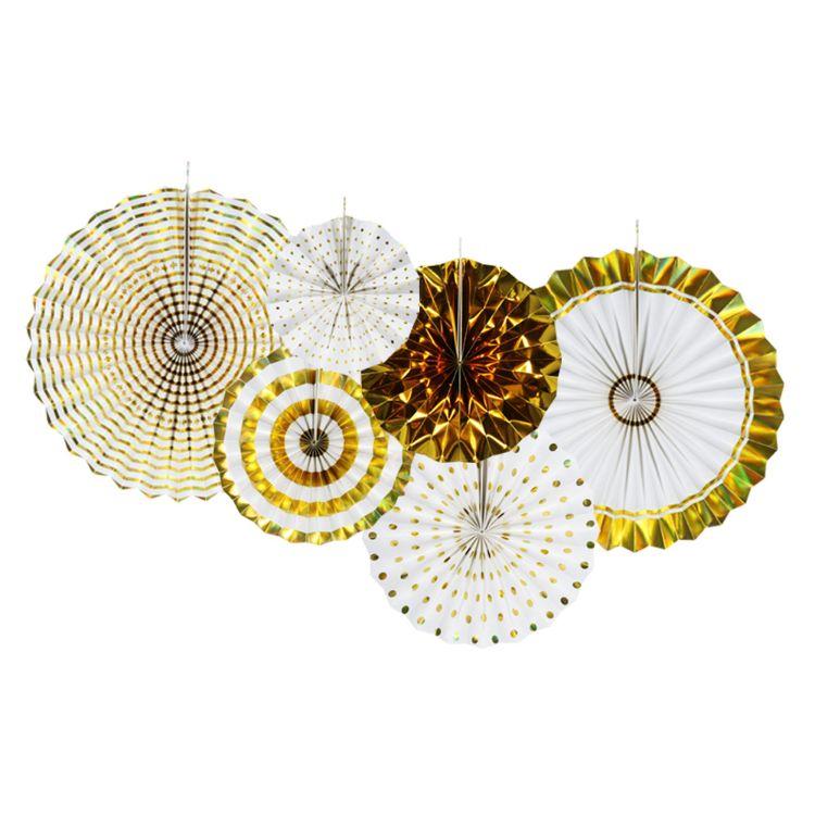 厂家直销 优美饰 生日派对背景装饰套装 6只装 纸扇花 折纸扇花