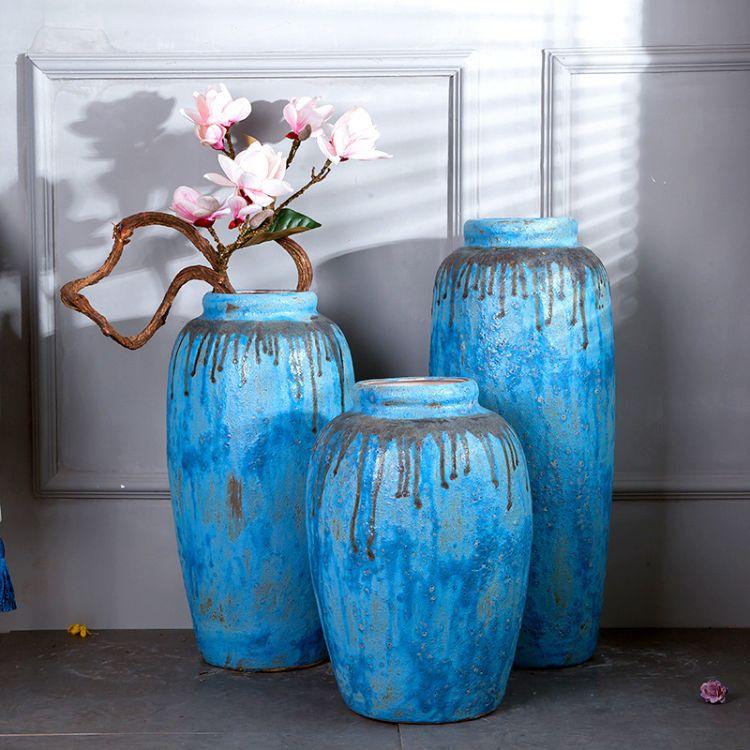 景德镇 陶瓷大花瓶 美式乡村艺术花器 摆式工艺品宾馆 酒店 大厅