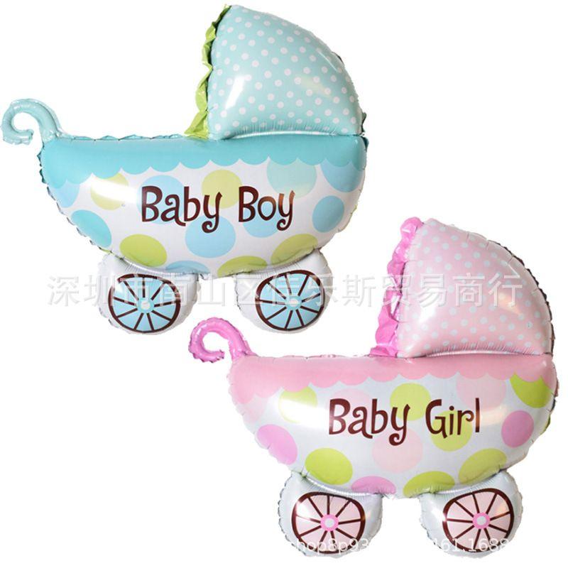 宝宝满月百日周岁生日男女婴儿车铝膜气球装饰卡通baby氦气球批发