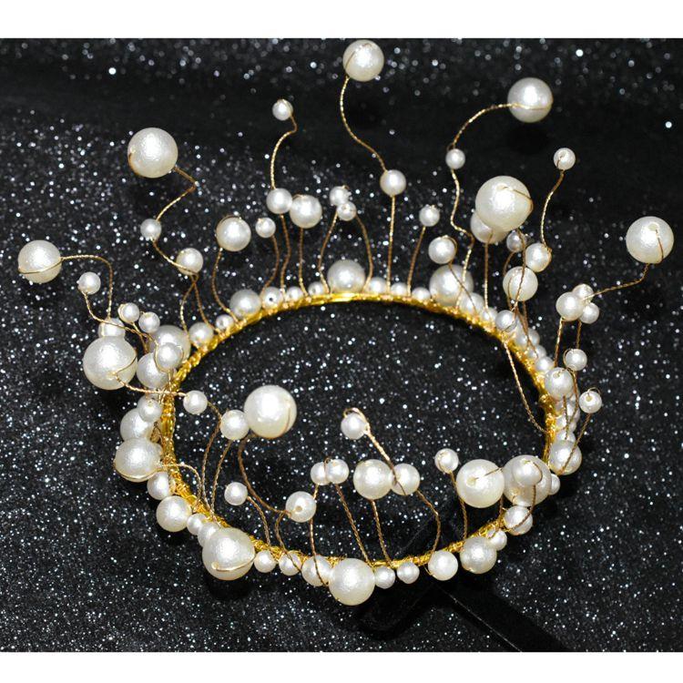 新娘皇冠生日蛋糕烘焙装饰皇冠珍珠手工派对皇冠婚纱结婚发饰品