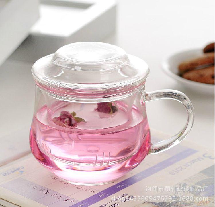 直销玻璃三件杯兰雅女士玻璃杯 耐热玻璃办公室透明玻璃三件杯