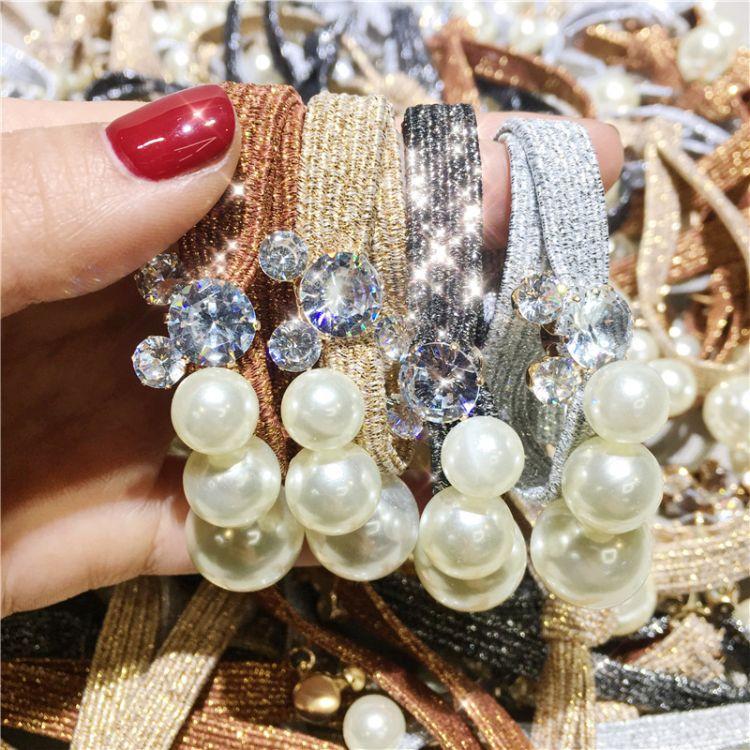韓國東大門發圈 打結發繩珍珠米奇頭繩韓國進口高彈寬皮筋發飾
