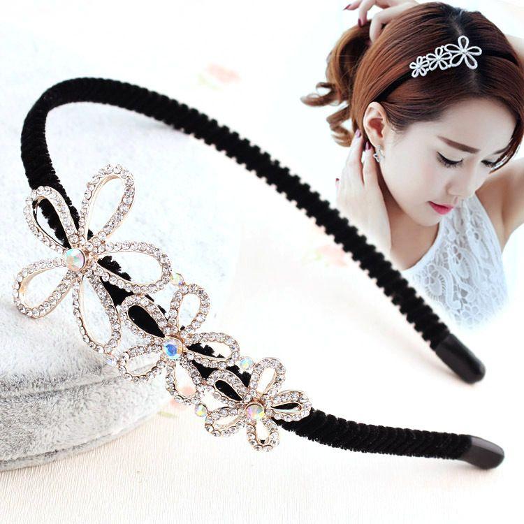 高端時尚精品發飾發箍韓國滿鉆花朵頭箍發卡女士寬邊壓發夾頭飾品