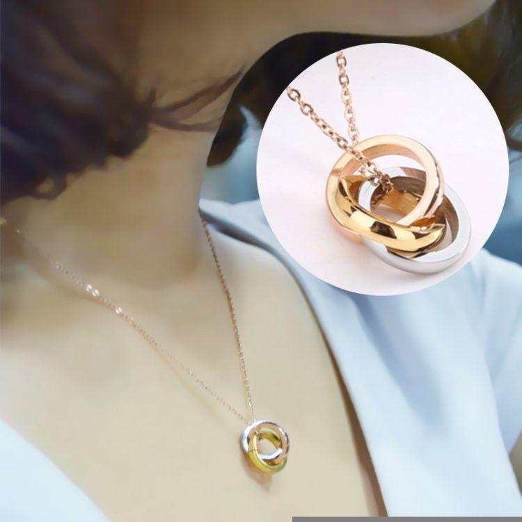 韩版时尚小清新锁骨链 14K金钛钢双环项链女 精致不锈钢吊坠饰品