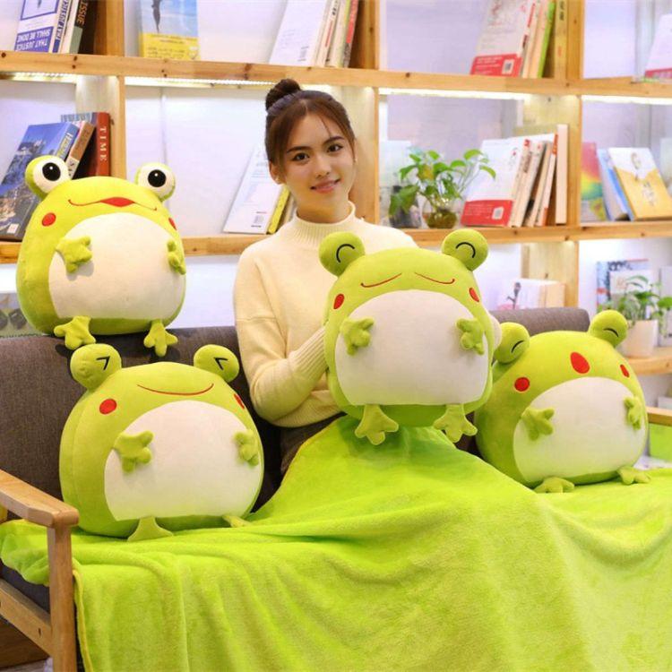 扬州米修毛绒青蛙暖手抱枕毯子三合一空调毯午睡毯可定制加logo