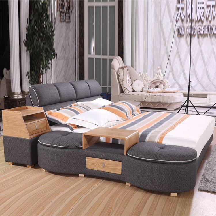 榻榻米可拆洗双人床布艺大床 简约现代酒店1.8米双人床 厂价直销