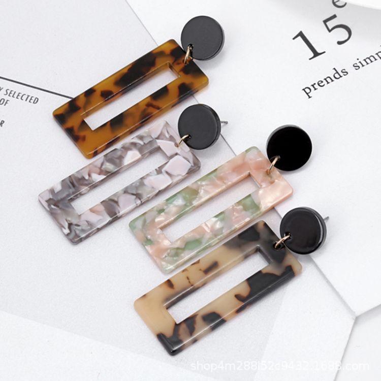 日韓版簡約大牌醋酸版豹紋耳環亞克力板幾何型樹脂耳飾批發