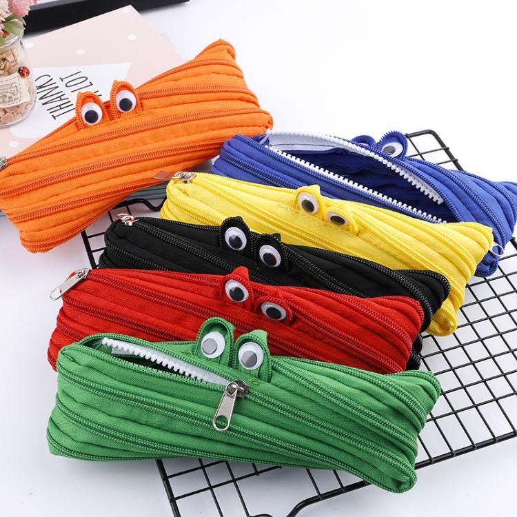 韩国创意笔袋文具拉链收纳袋 小怪兽拉链笔袋 简约可爱大容量笔袋