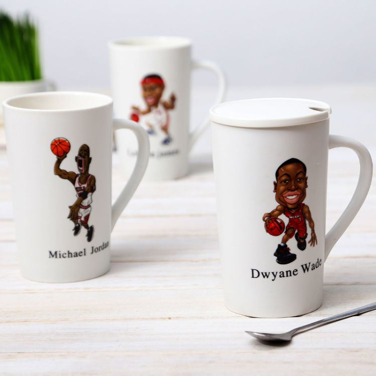 NBA马克杯子 陶瓷杯水杯子咖啡杯带盖带手柄创意马克杯