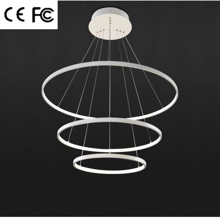 现代简约led吊灯 创意艺术个性餐厅灯客厅卧室灯环形圆圈灯