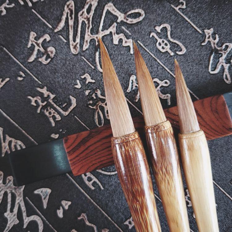 厂家供应棕竹兼毫文房四宝套装毛笔狼毫订做免费刻字量大从优批发