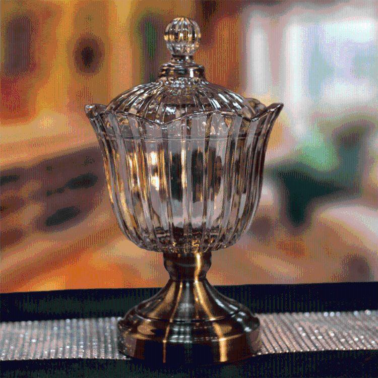 欧式透明带盖糖缸 客厅软装饰品工艺创意摆件大号咖啡玻璃糖果罐