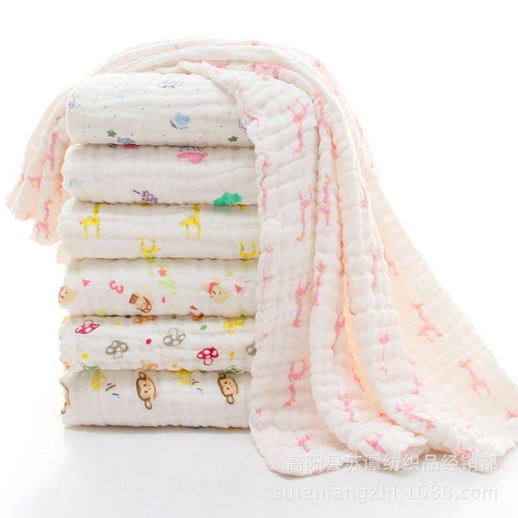 纯棉六层吸水纱布婴儿浴巾新生儿柔软舒适抱被儿童透气夏凉空调被