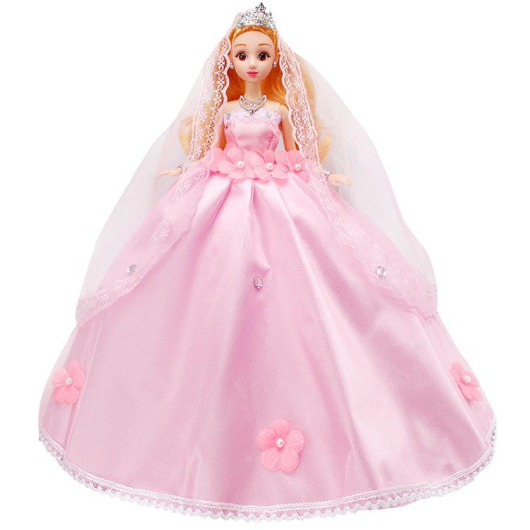 芭芘婚纱公主娃娃大裙摆蕾丝头纱带钻花瓣礼裙女孩生日礼物娃娃