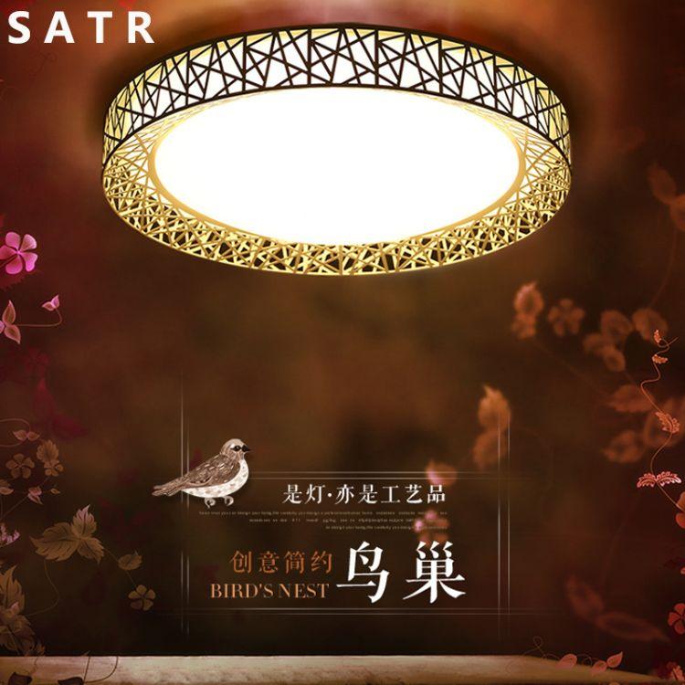 新款圆形鸟巢LED吸顶灯创意 异形灯铁艺灯温馨浪漫客厅卧室灯灯具