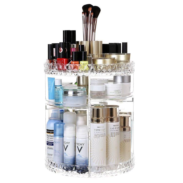 钻石纹旋转化妆品收纳盒透明亚克力桌面整理置物架护肤品整理架