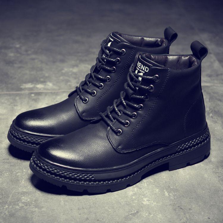 马丁靴男高帮韩版百搭潮流加绒棉靴英伦黑色中帮冬季短靴子工装鞋