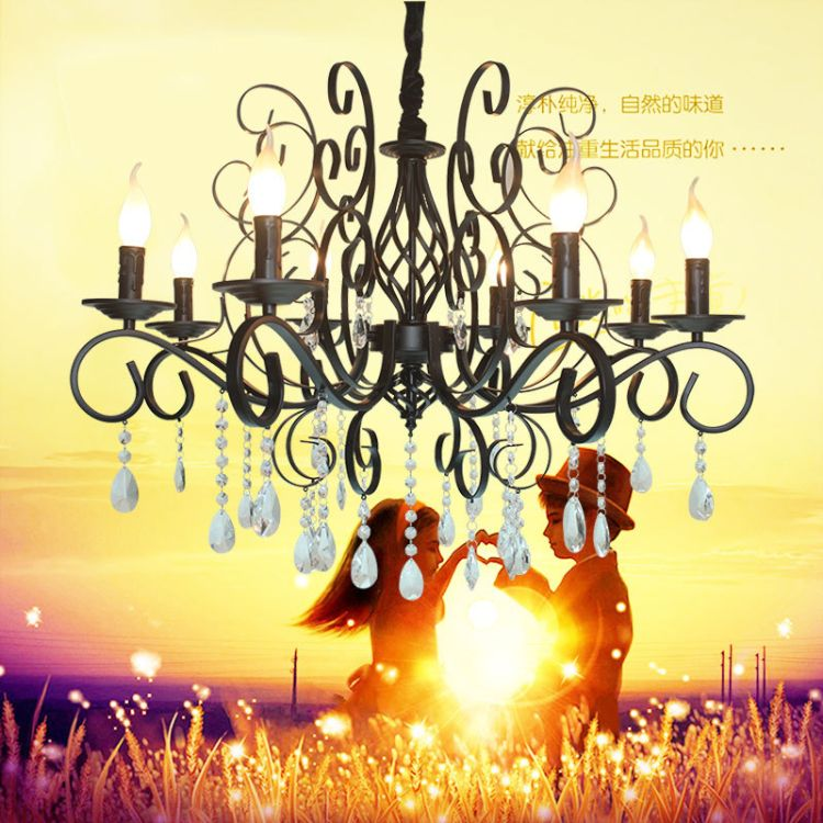 水晶吊灯欧式蜡烛灯客厅餐厅卧室灯简约铁艺双层别墅家居灯具灯饰