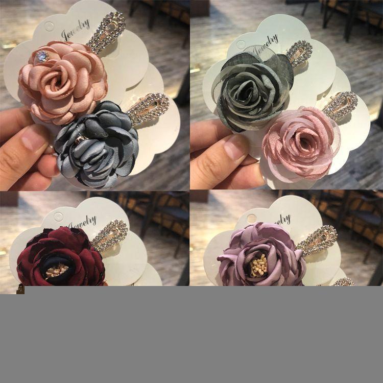 布艺花朵发夹韩版时尚头饰发饰品精致水钻顶夹玫瑰花朵盘发边夹女