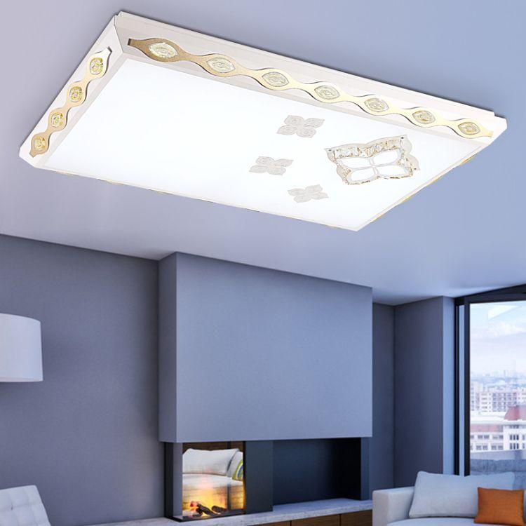 新款现代简约led吸顶灯铁艺长方形客厅灯大气办公室照明灯具批发