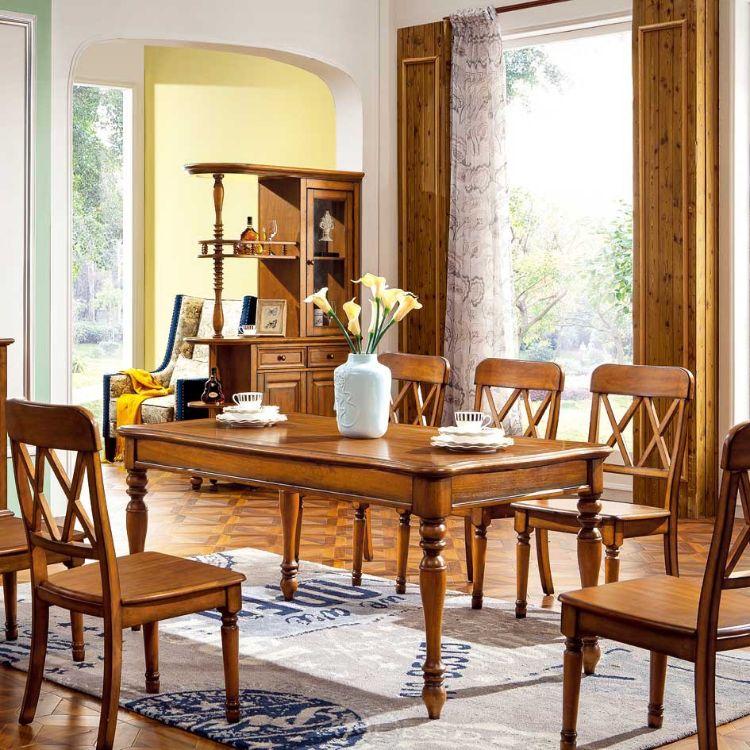 美式餐桌美式餐椅全实木餐桌全实木餐椅长方形餐桌 YG8807