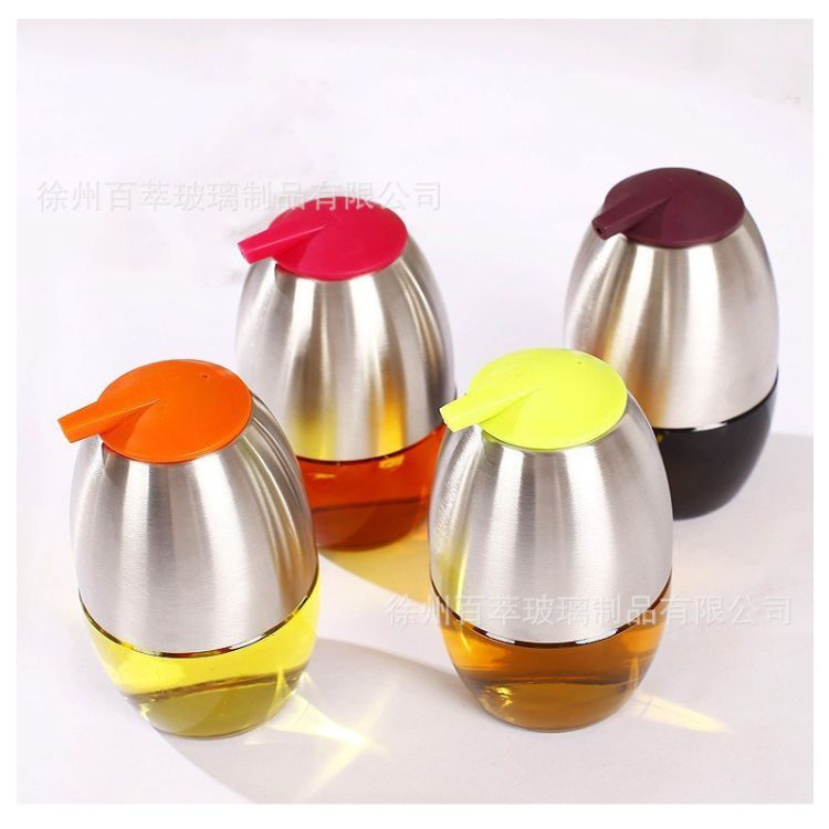 创意好心情不锈钢玻璃油壶可控香油瓶时尚酱油醋瓶厂家批发