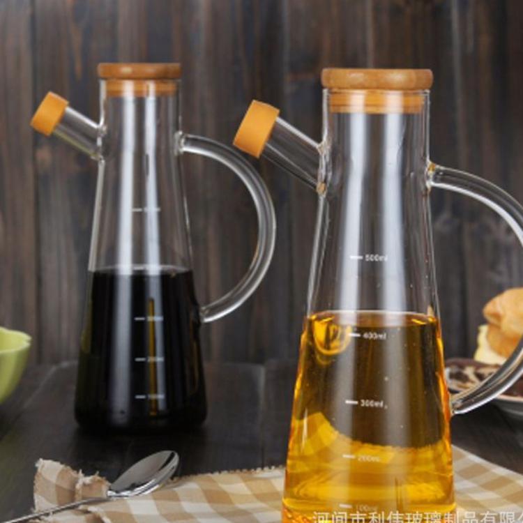 高硼硅无铅玻璃油壶透明带刻度厨房创意酱油醋瓶带把带盖厂家直销