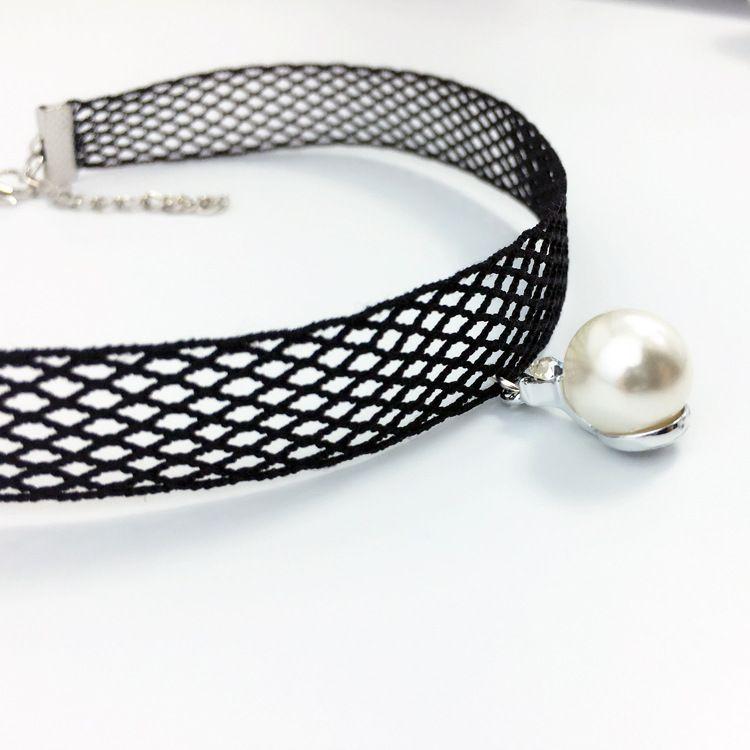 珍珠吊坠短款项圈 蕾丝项链女韩版新款锁骨链choker颈带 厂家批发