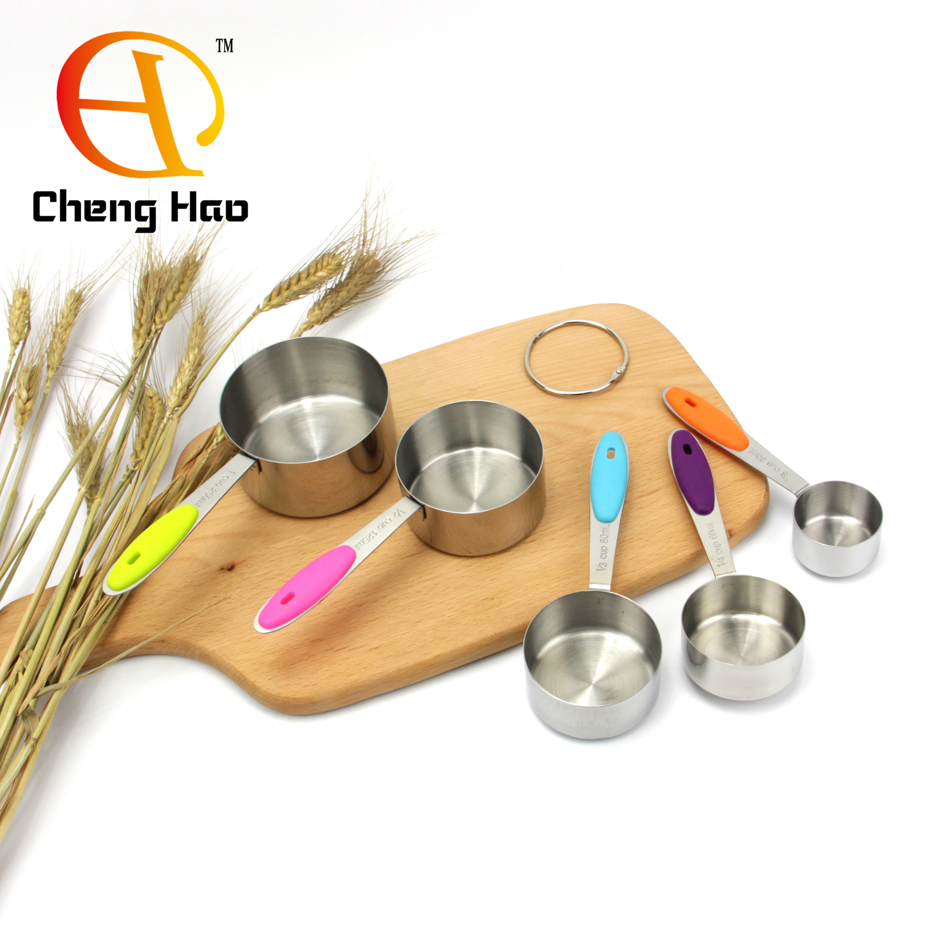 量杯五件套不锈钢硅胶烘焙工具 量勺烘焙厨房小用品厂家直销