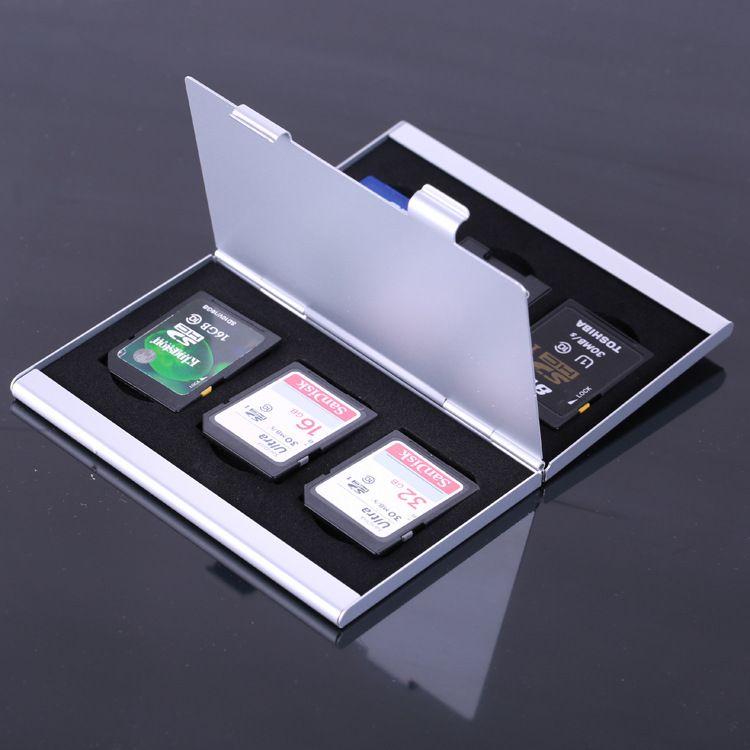 背包客手机TF卡 相机SD卡 CF卡数码收纳盒铝合金双层金属存储卡盒