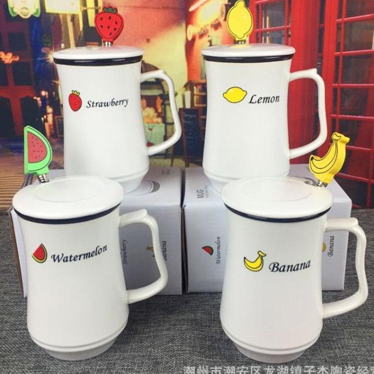 厂家直销 广告礼品促销马克杯水果杯子 陶瓷杯子 创意带盖陶瓷杯