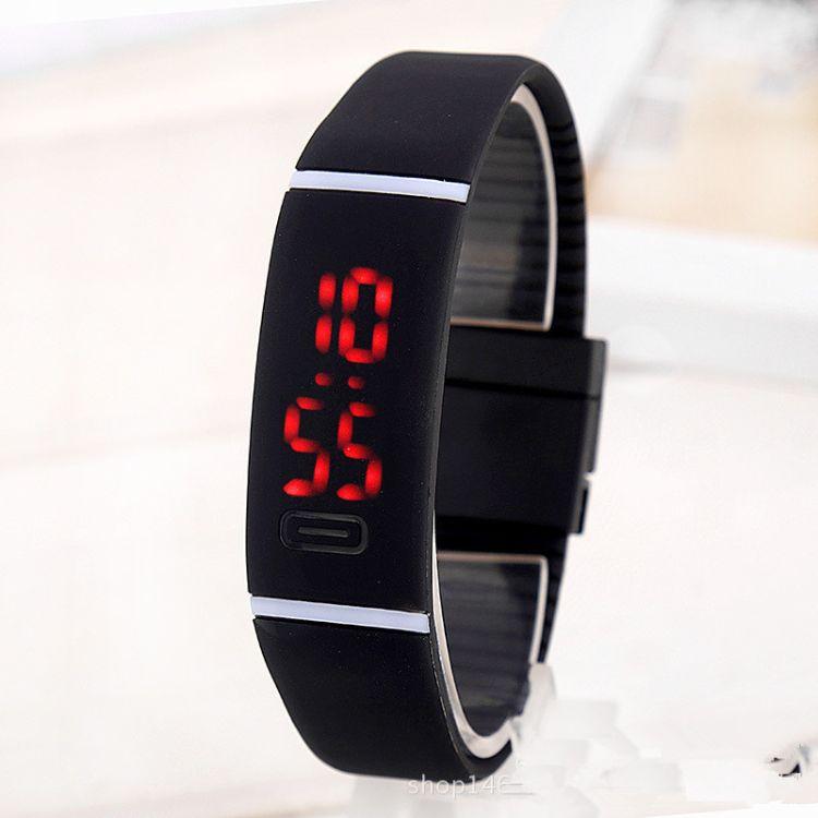 廠家直銷韓國潮流糖果色LED現貨手表 觸膜橫條果凍運動手環手表