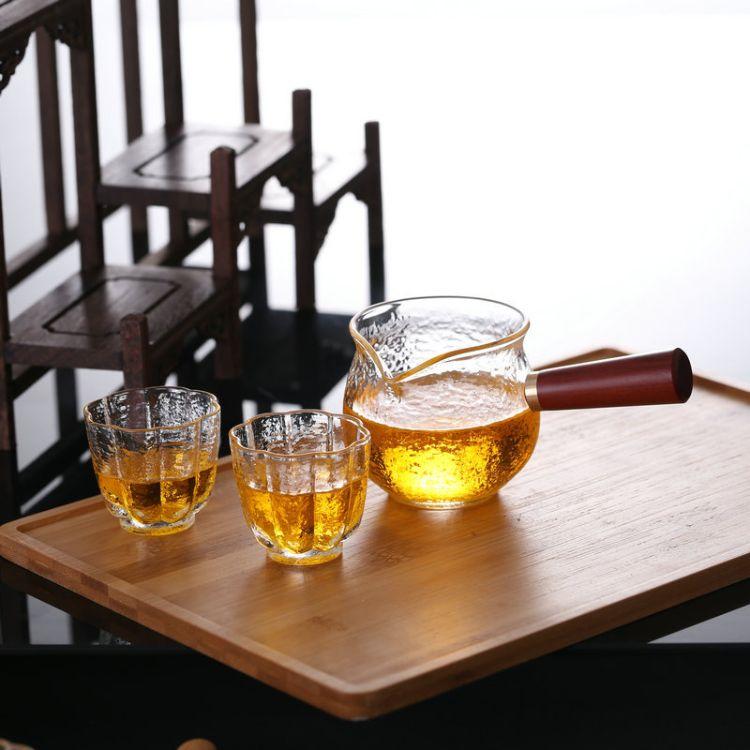 厂家批发玻璃茶壶桔普煮茶神器木把侧把壶玻璃煮茶壶泡茶壶河间