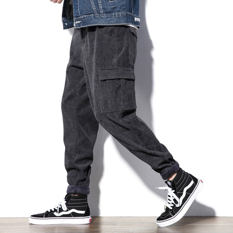 日系大码男装休闲裤2018加绒加厚灯芯绒工装裤欧美街头束脚哈伦裤
