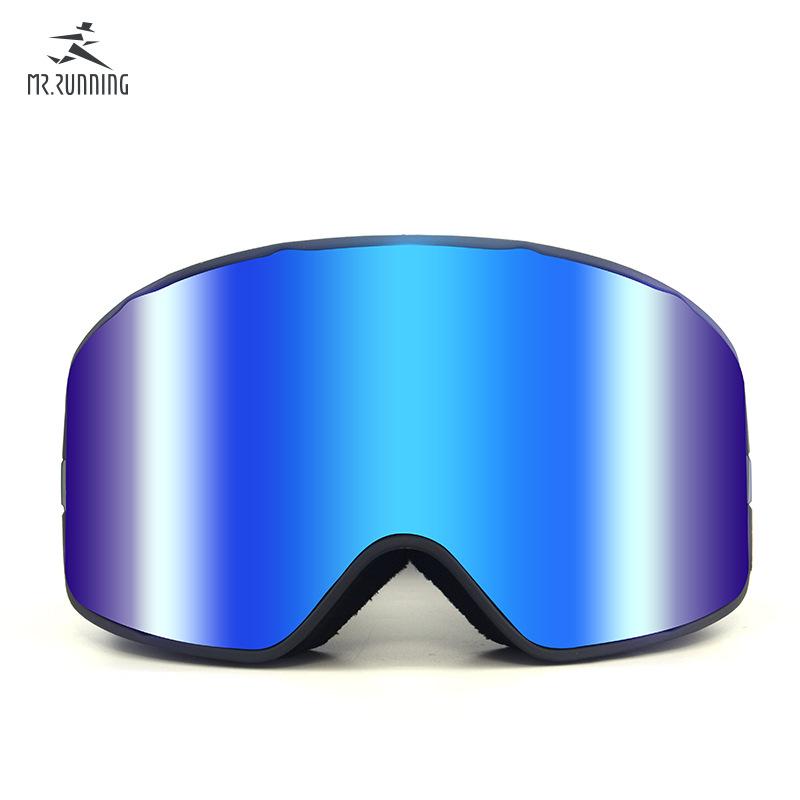 2018新款柱面磁铁卡扣雪镜 成人滑雪防风眼镜双层防雾滑雪护目镜