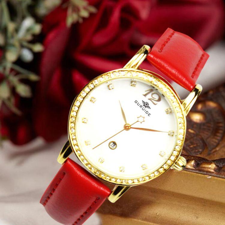 女士手表定制批发 高档品牌女手表 水钻女士皮革表 Watch生产厂家