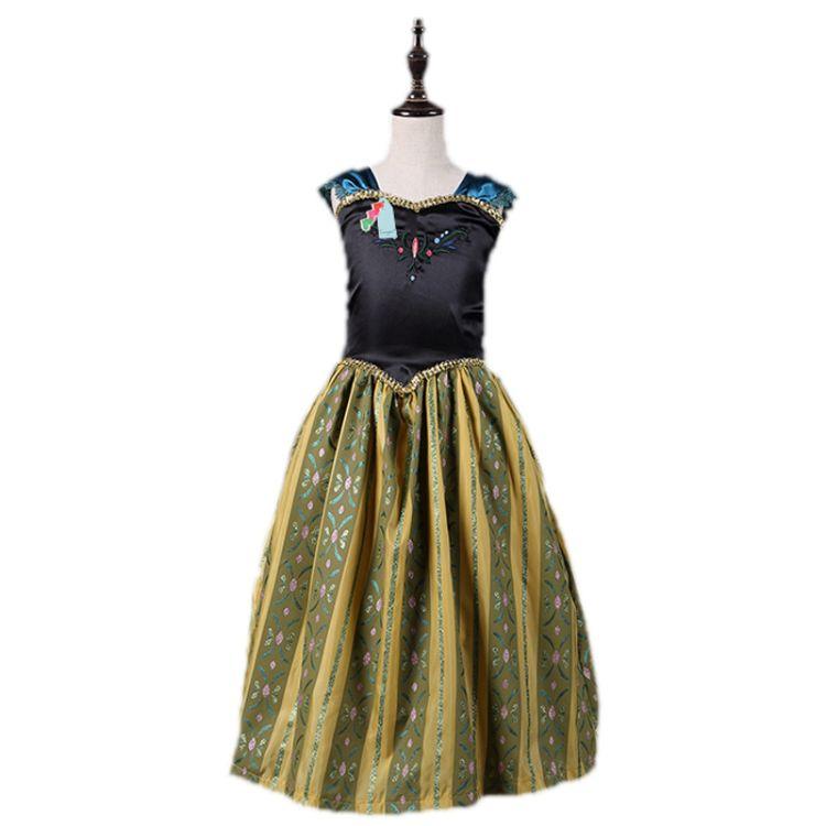 ins外贸童装一件代发 女童大冒险冰雪奇缘 frozen童裙 金色连衣裙