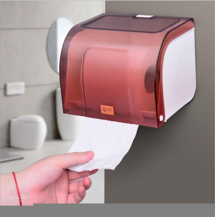 强力双面胶免打孔防水厕纸盒塑料卫生间无痕创意纸巾盒浴室纸巾筒