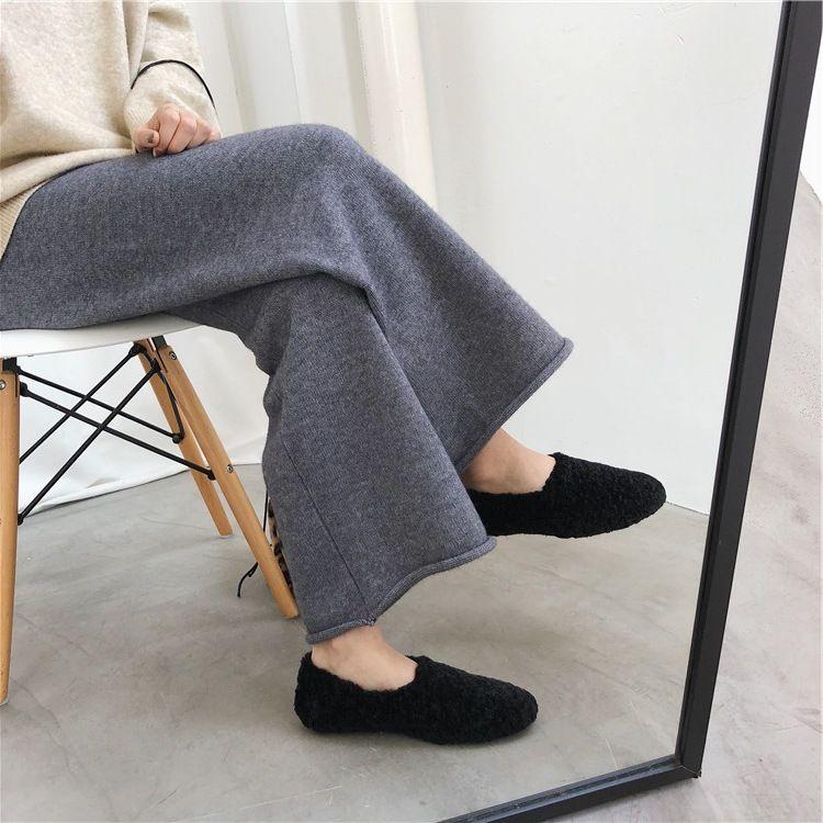冬季超厚实的针织阔腿裤 垂感显腿长显瘦直筒百搭卷边针织裤长裤