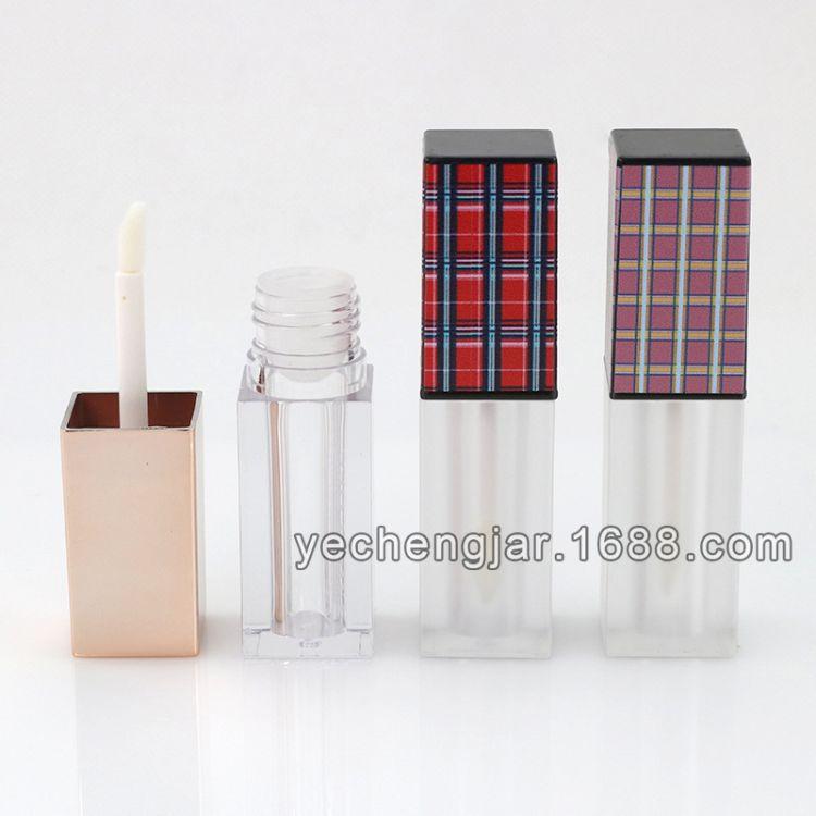 4ml四方形唇釉管包材染唇液磨砂透明空瓶 网纹格子玫瑰金色唇彩瓶