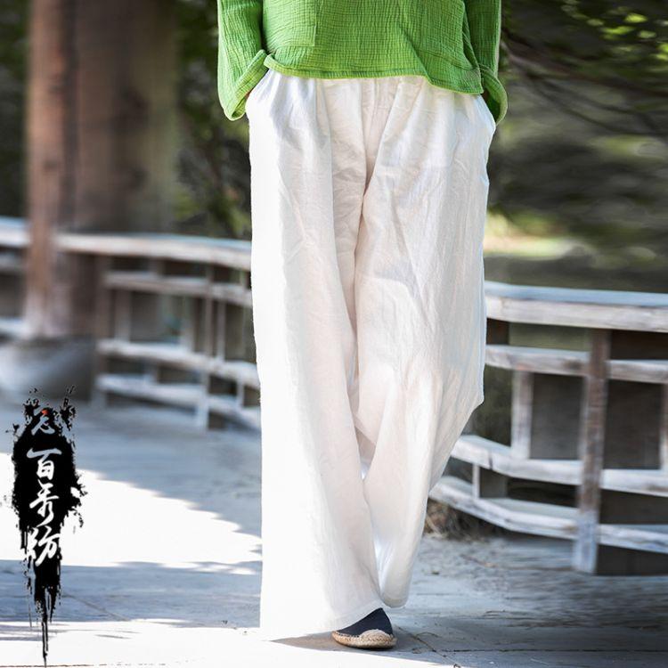 18秋冬棉麻女装新款工厂原创复古中国风水洗绉布女式哈伦裤阔腿裤